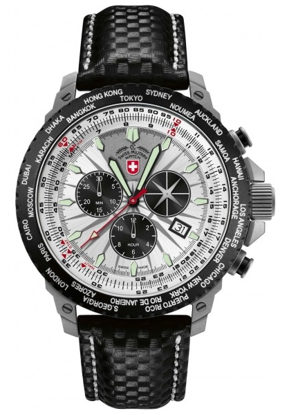 Swiss Military Hurricane Worldtimer Rawhide 24751