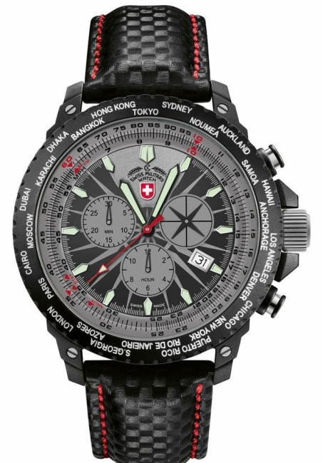 Swiss Military Hurricane Worldtimer Rawhide 24761